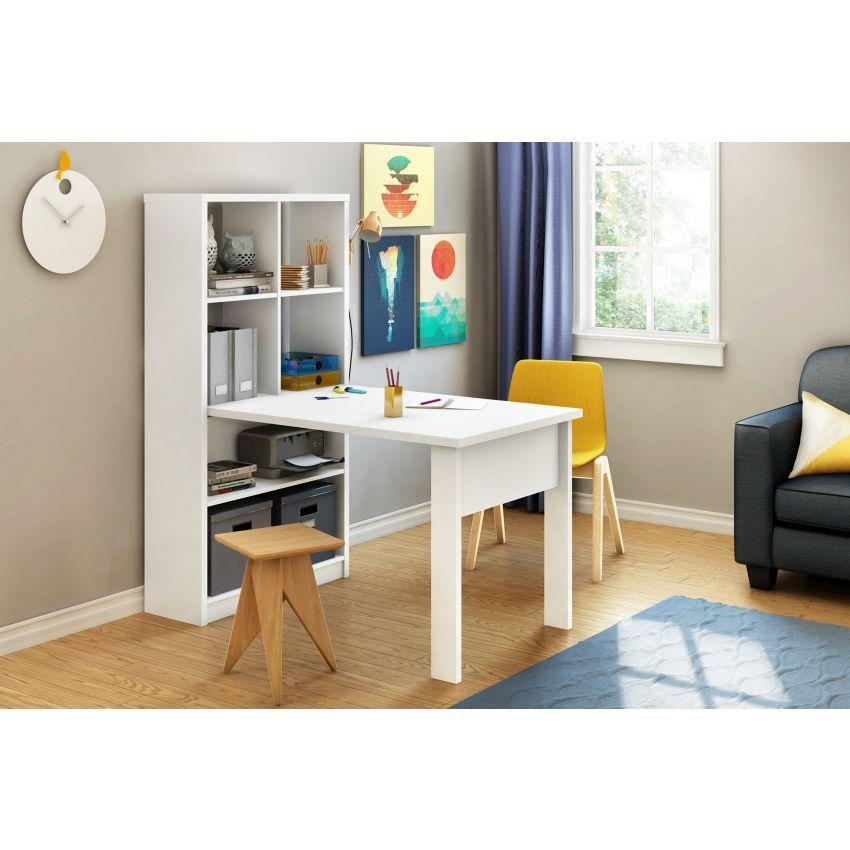 Escritorio de trabajo con librero integrado crea muebles for Crea muebles
