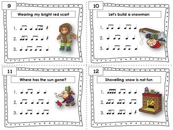 WINTER Rhythm Task Cards  Included in this product is... ♫ 24 Task Cards  ♫ Student Record Sheet  ♫ Answer Key  CLICK through to see the set or save for later!