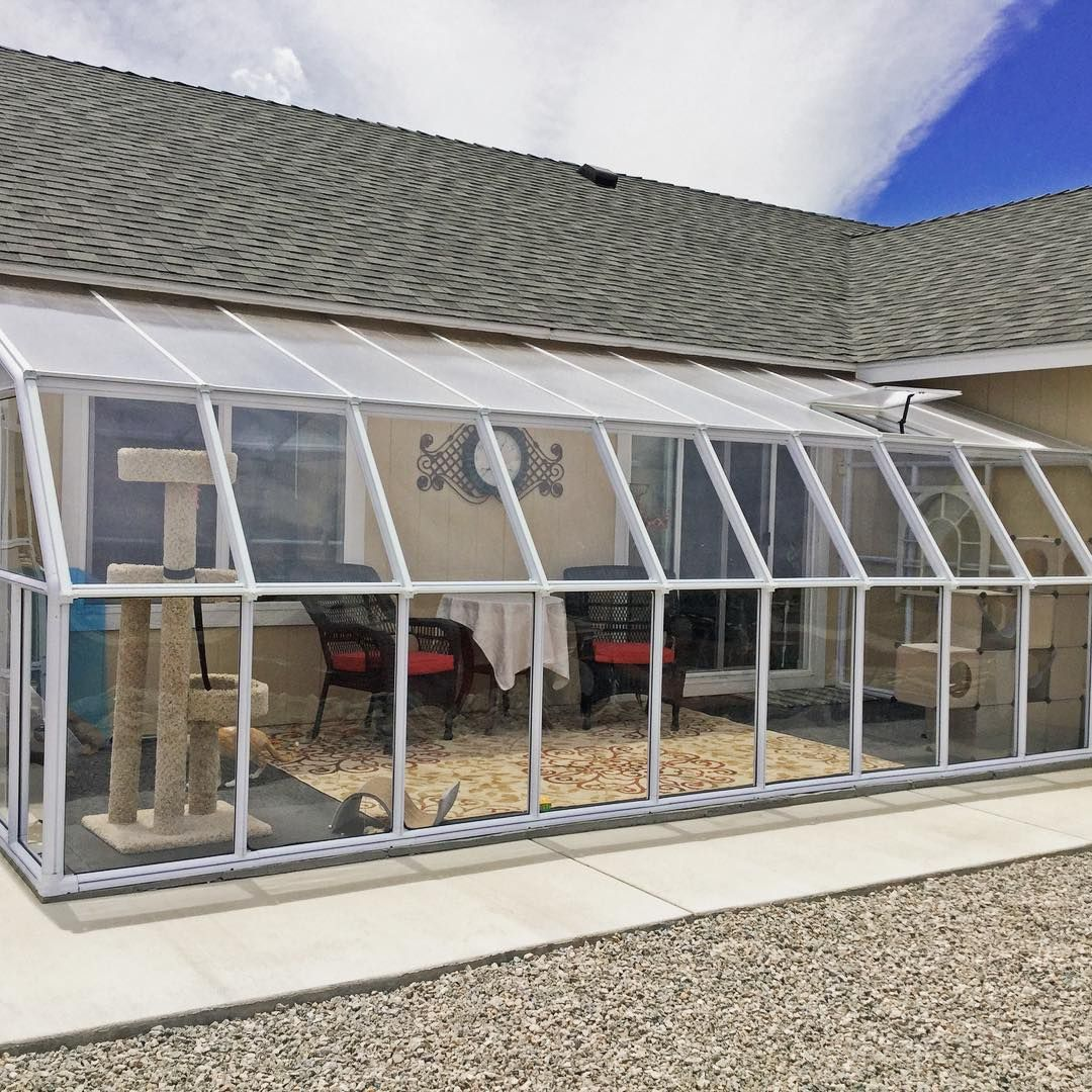 This Home Had Just Received A New Sun Room The Rion Sun Room 10x20 Ft Kit Was Assembled By The Satisfied Homeowner Patio Room Roof Design Sunroom Kits