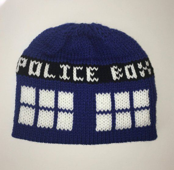 231bd06e86c Doctor Who Tardis Inspired Beanie with Pom - Made to Order - One ...