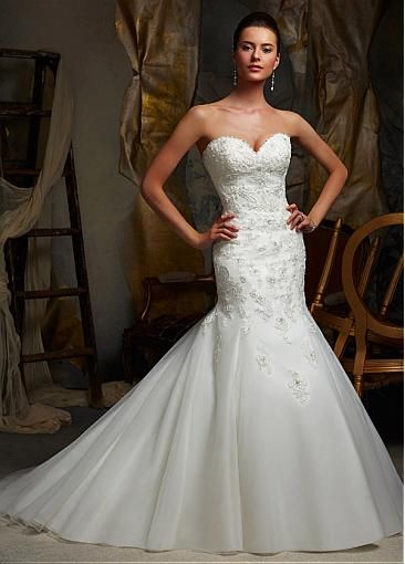Unique Organza Mermaid Sweetheart Neckline Natural Waistline Wedding Dress http://www.dressilyme.com/product/productDetail.do?pid=41686