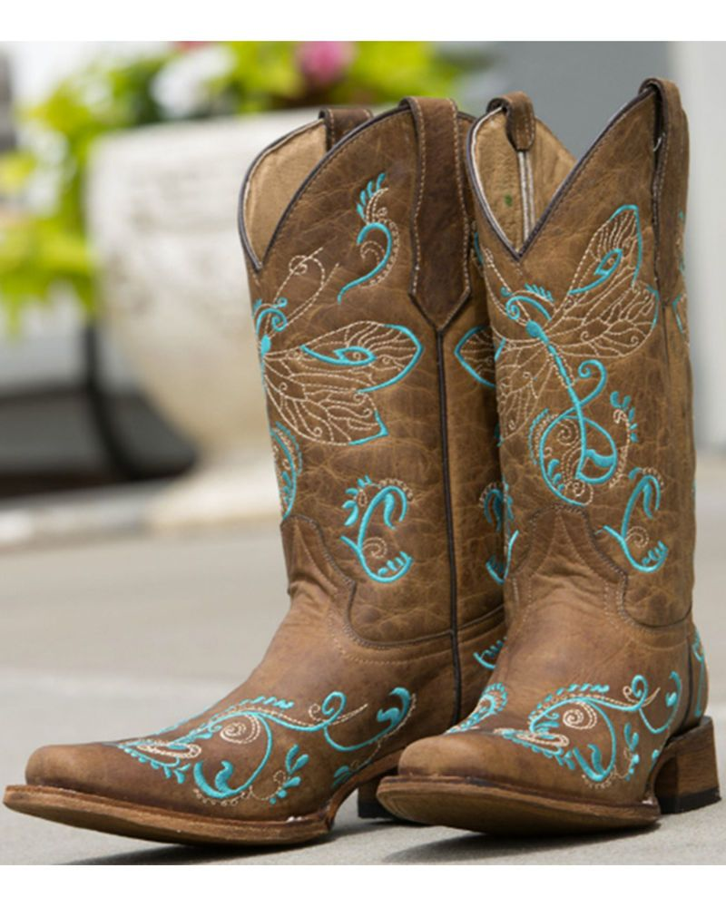 9b06c02d7 Corral | Women's Circle G by Corral Dragonfly Embroidery Square Toe Boot -  Tan | Country Outfitter