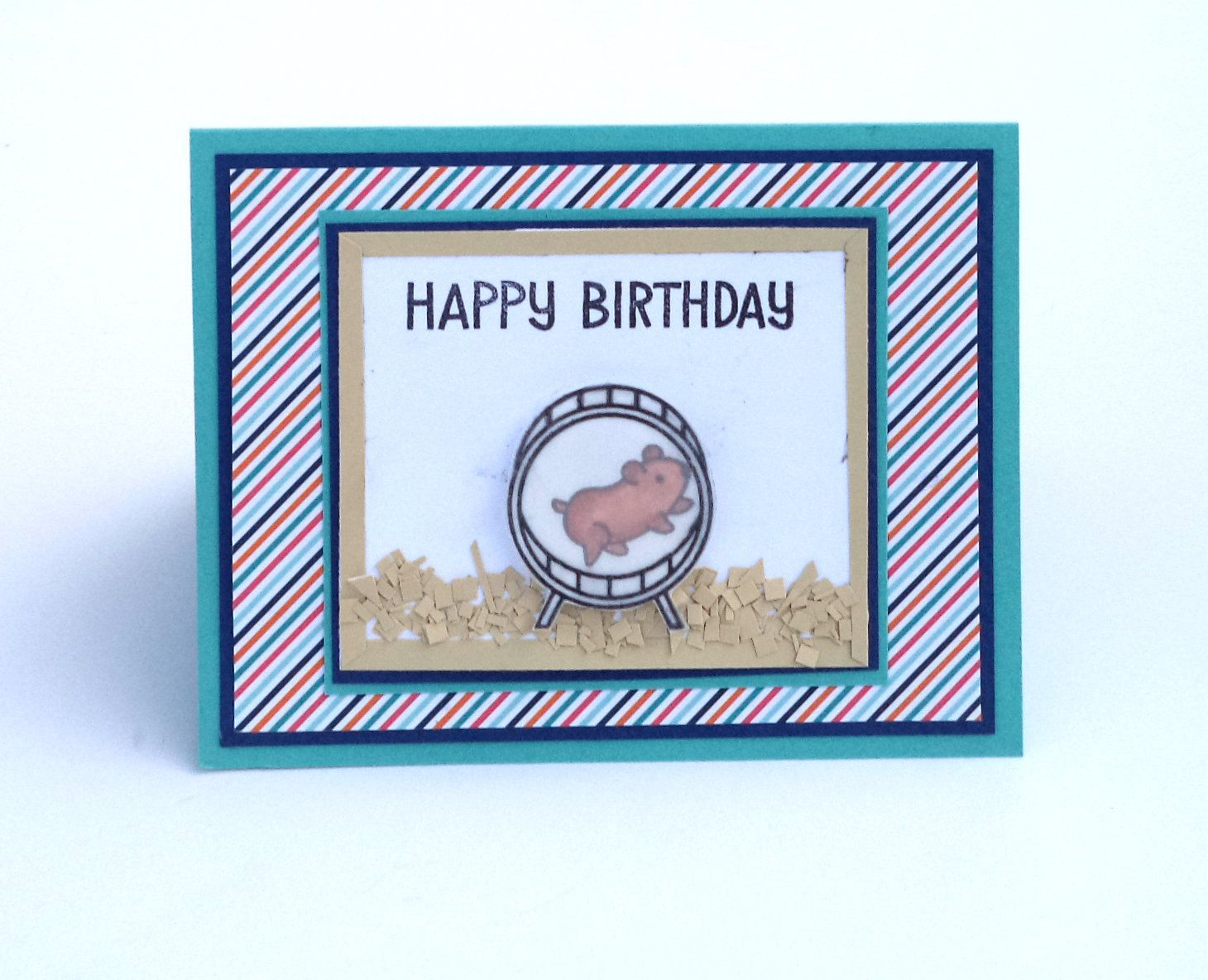 Birthday Card Hamster On Wheel Blue And White With Stripes Etsy Birthday Cards Birthday Stamps Patterned Paper