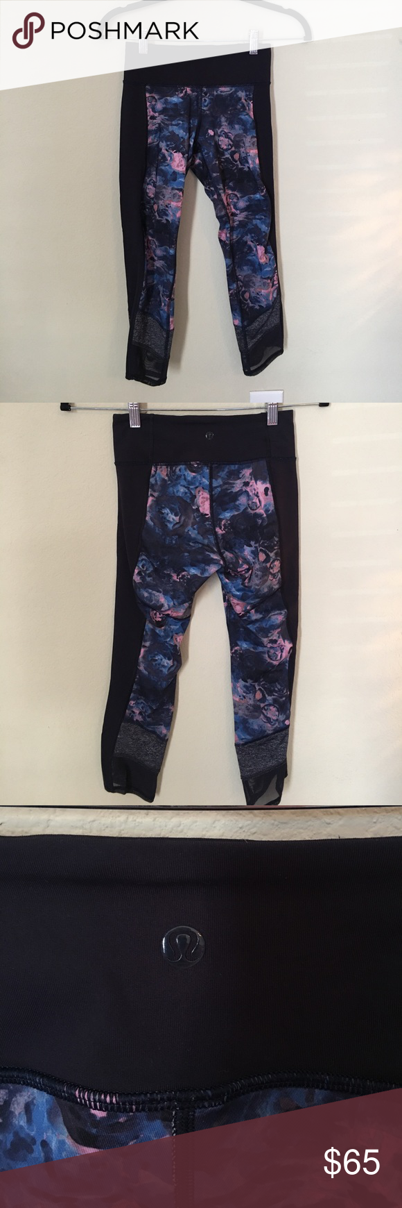 Lululemon Crops Perfect Condition! Worn once. Super cute navy and pink floral design. Mesh see through on the bottom. lululemon athletica Pants Leggings