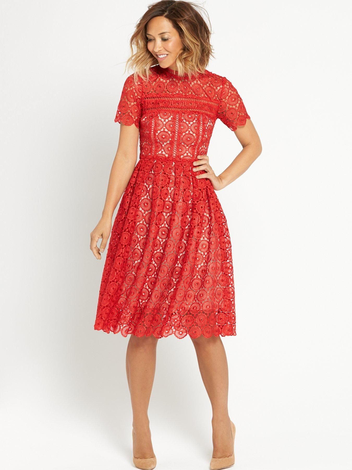 d36b68188ec Myleene Klass Guipure Lace Prom Dress - Red We love this gorgeous prom dress  by Myleene Klass with its fitted top and flaring prom style skirt creating  a ...
