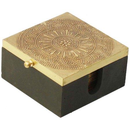 Benzara Handmade Set Of 6 Decorative Square Coasters With Holder Black Handmade Decorations Coasters Leather Coasters