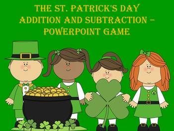 the st. patrick's day addition and subtraction - powerpoint game, Powerpoint templates