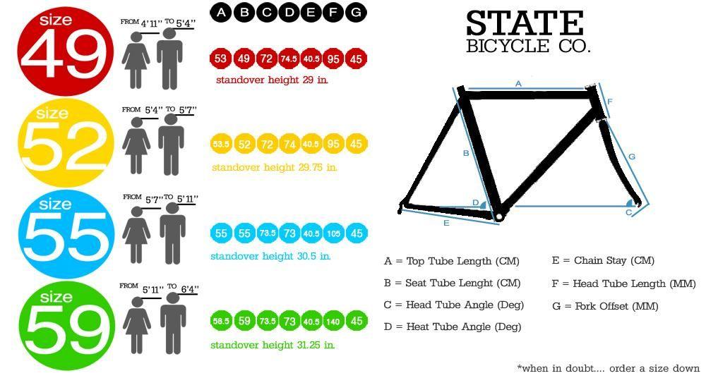 Bike Size Guide Fixie / Single Speed Bmx bike