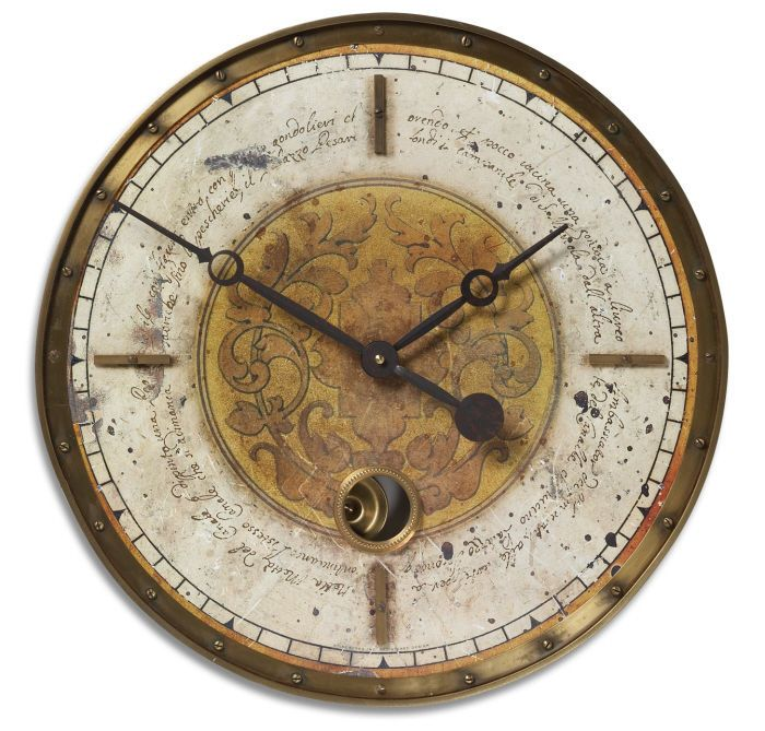 "Vintage Tuscan French Cream Brass Leonardo Script Pendulum Round Wall Clock 18""…"