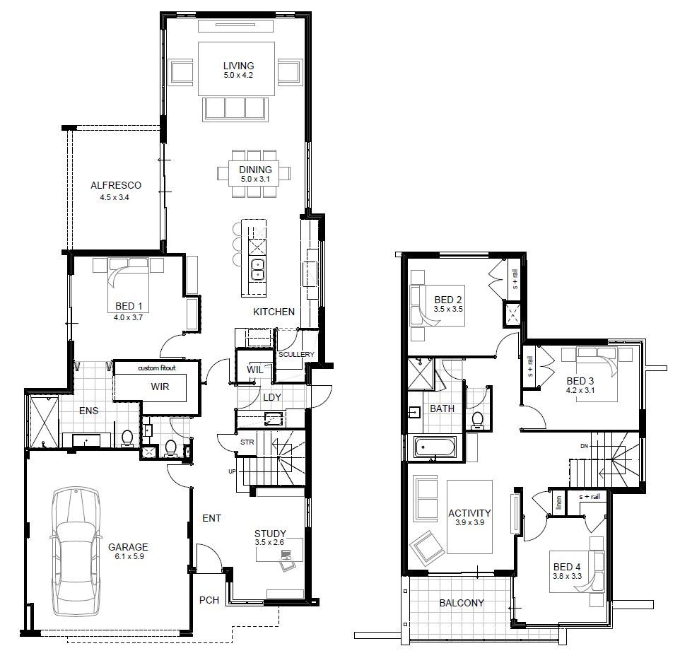 narrow lot double storey house designs perth apg homes luxury home ...