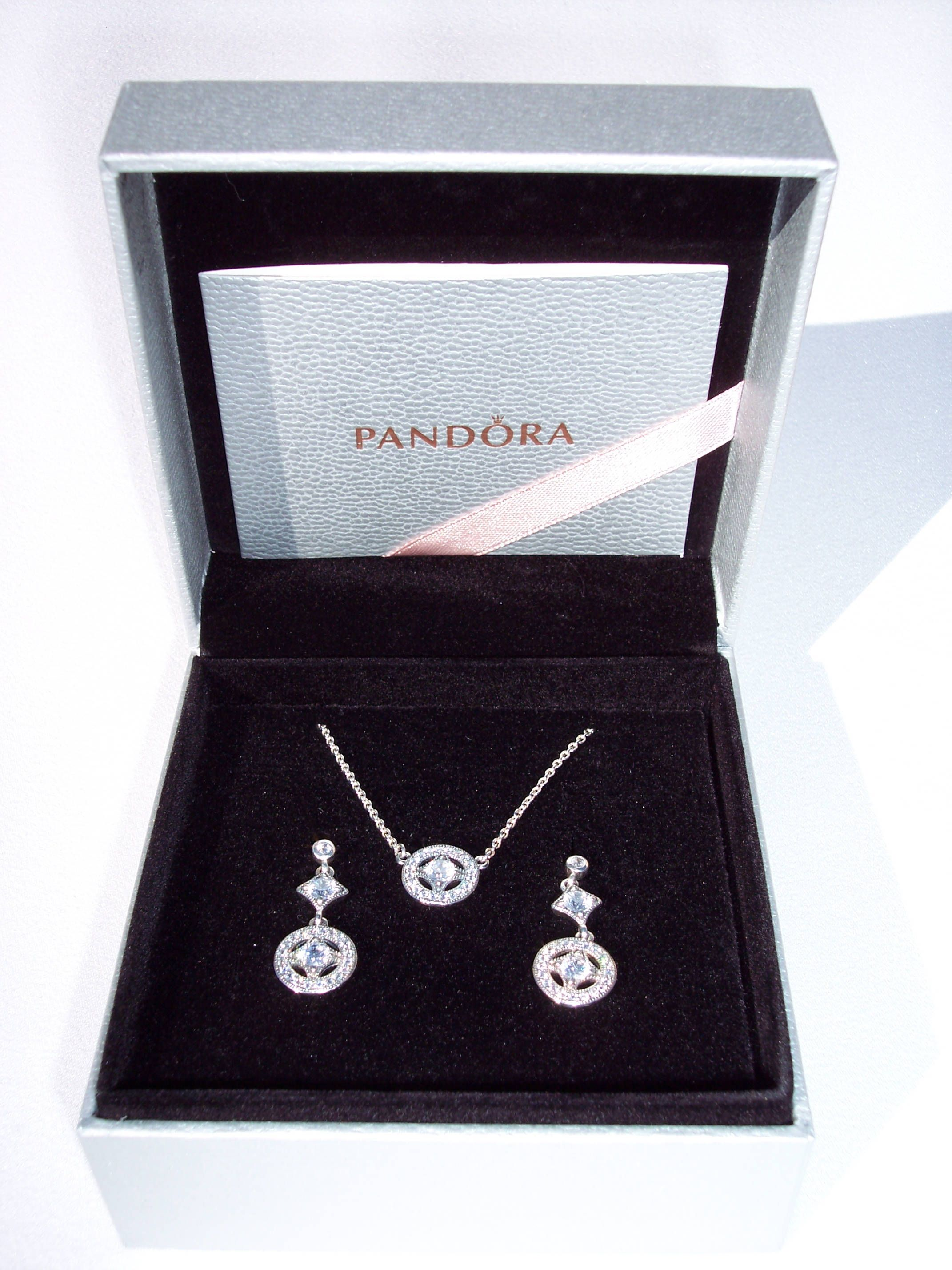 07562ba0a Pandora, Vintage Allure Gift Set, Earring, Necklace, Limited Edition Set,  Clear CZ, Dangle, Studs, Silver, 925 ALE, USB796700