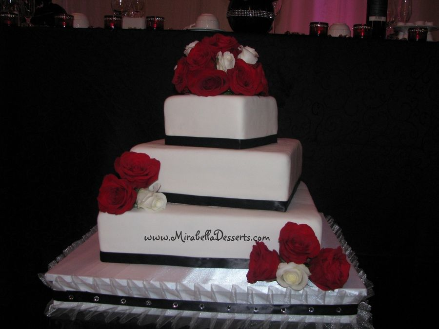3 Tier Square Wedding Cake Decorated To Match The Receptions Red And Black Decor