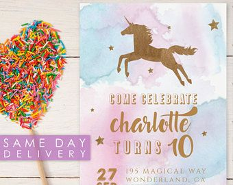 Printable Rainbow Birthday Invitations ~ Printable pastel unicorn birthday party invitation template