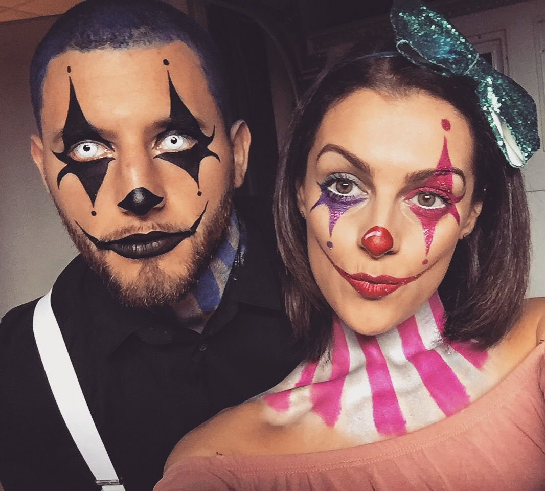 Clown couple.circus makeup. Special effects makeup. Pretty clown makeup. Scary clown makeup . Cute clown makeup. Cute clown costume. Glitter clown makeup.  sc 1 st  Pinterest & Clown makeup. Clown costume. Clown couple.circus makeup. Special ...