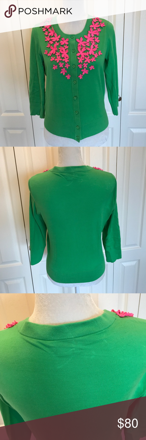 Kate spade green sweater | Embroidered flowers