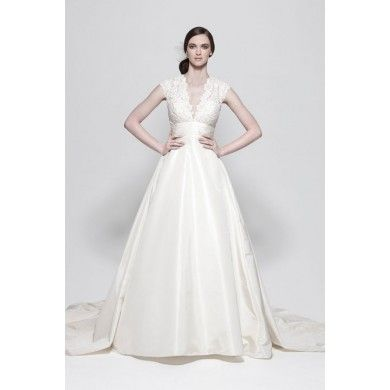 $316 - via WeddingDress Bee http://www.weddingdressbee.com/v-neck-ball-gown-lace-bridal-gown.html