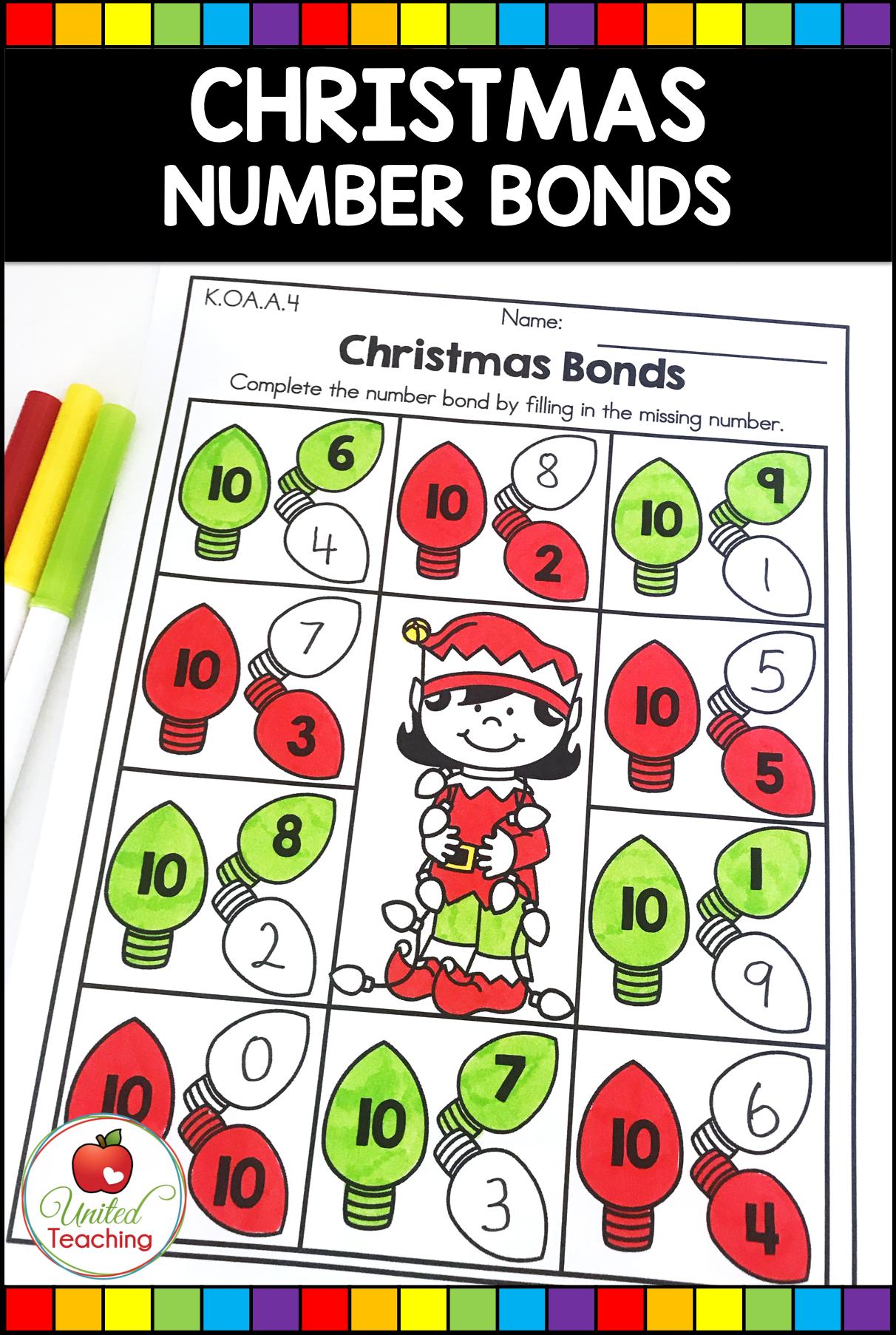 Christmas Math And Literacy Kindergarten No Prep Activities Christmas Math Activities Christmas Math Math [ 1806 x 1212 Pixel ]
