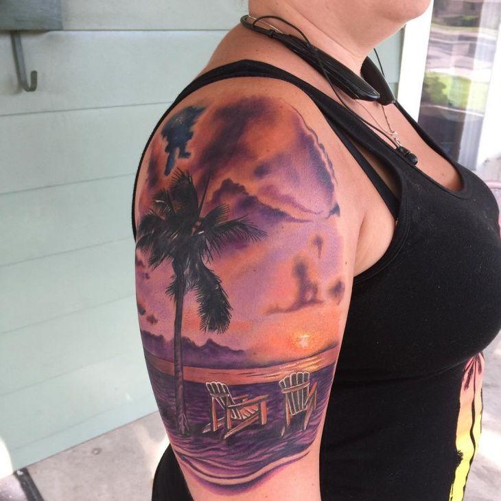 Sunset Beach Tattoo Design With Images Beach Tattoo Sunset