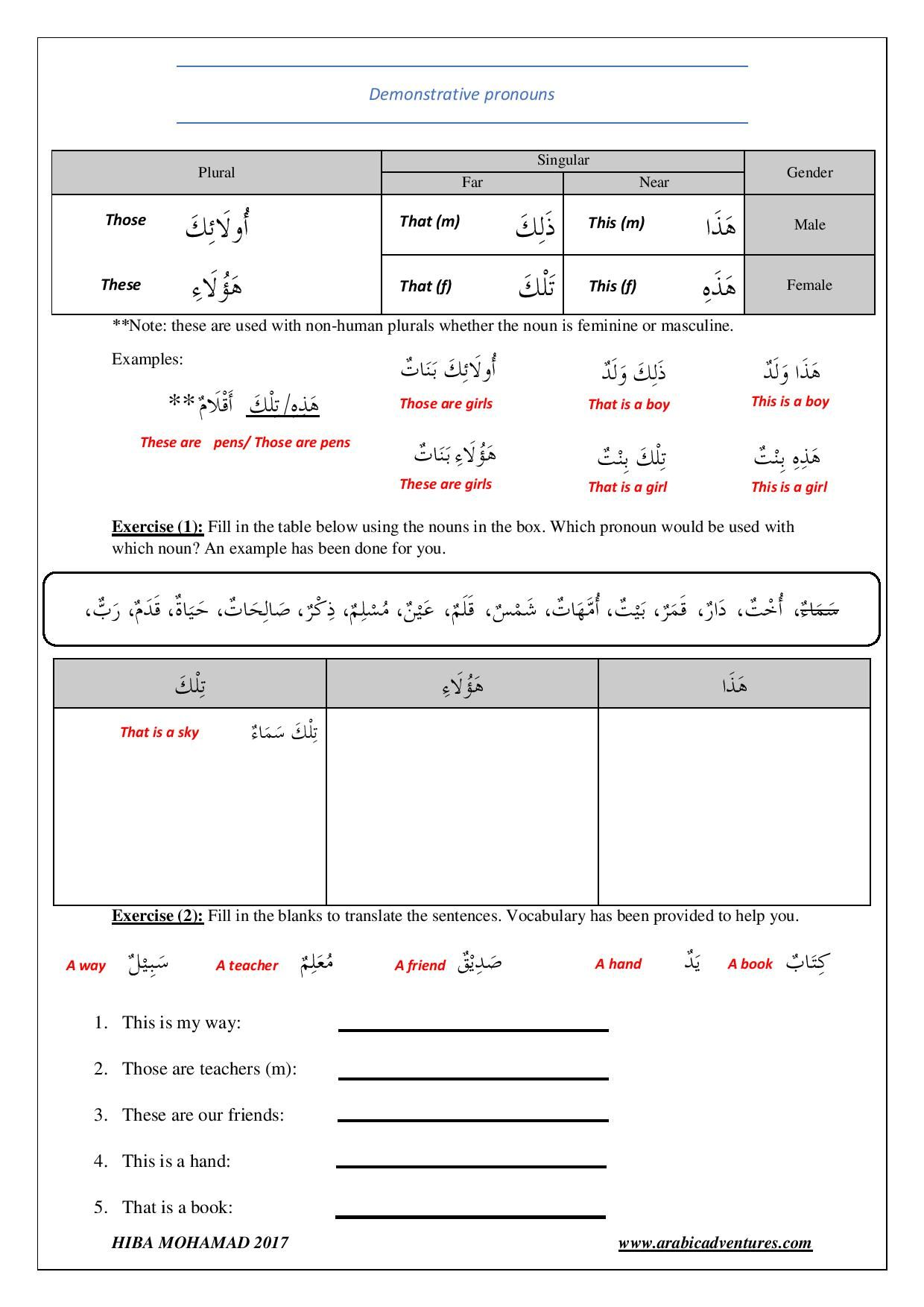 Arabic Demonstrative pronoun worksheet Free printable at – Demonstrative Pronouns Worksheet
