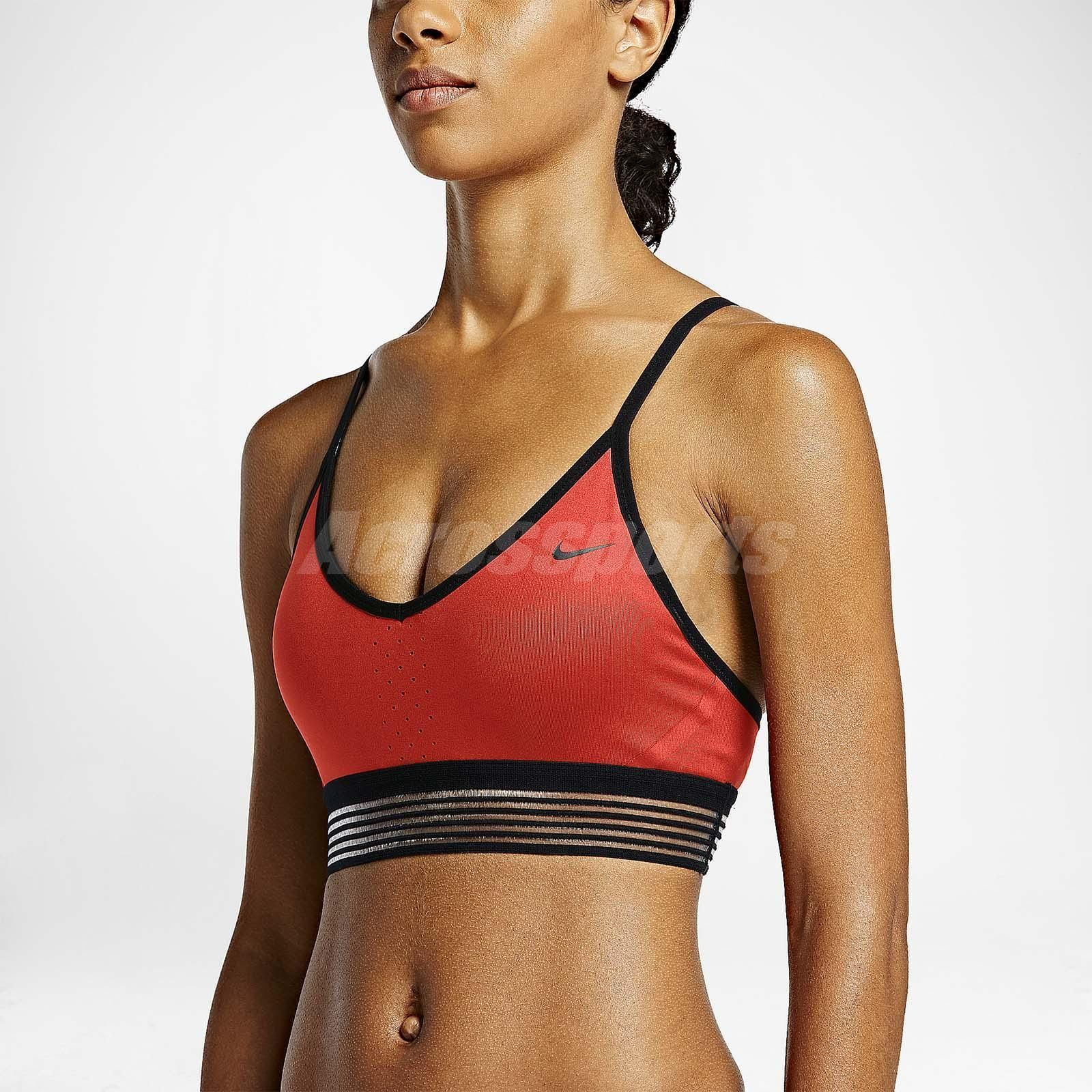 6063c39030b86 Nike Pro Women Indy Cool Light Support Red Yoga Fitness Workout Bra  805190-696