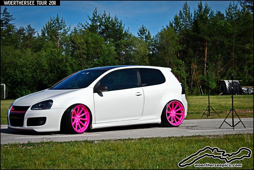 White Mk5 VW Golf On Pink Wheels