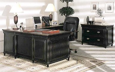 Painted Black Weathered Desk For Office With File Cabinet :)