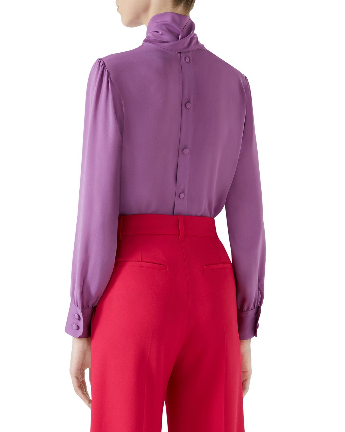 b0e2a043d158c Gucci Button-Back Long-Sleeve Scarf-Neck Silk Satin Georgette Blouse and  Matching Items   Matching Items