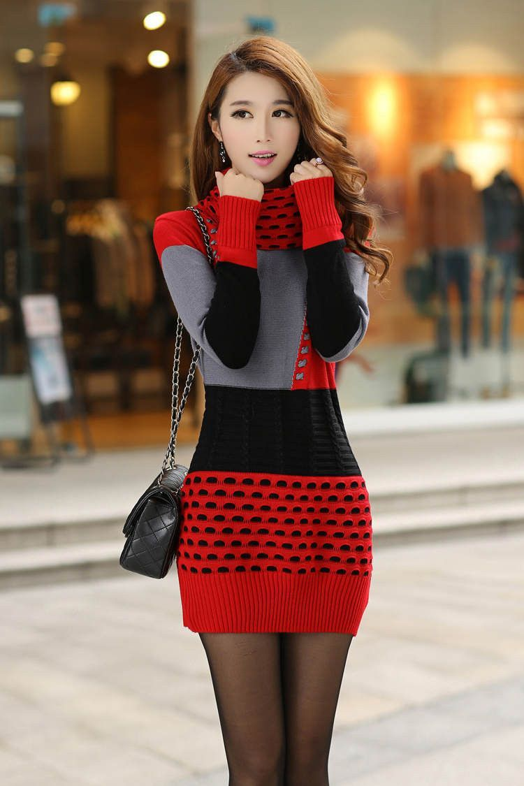 Woman Winter Dress Knitted Dress Turtleneck Long Sleeve Women ...