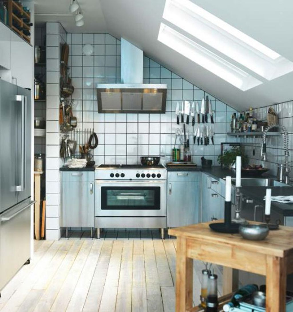 Small Apartment Kitchen Design with Sloped Ceiling and Wooden ...