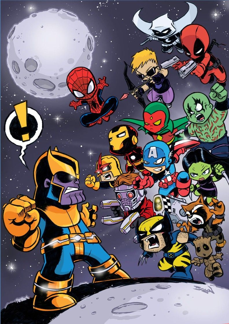 Get The Gauntlet This Has Been One Of My Popular Pieces Of Fan Art I Ve Done Over The Years A Bit Of Chibi Style In Chibi Marvel Baby Marvel Avengers Cartoon