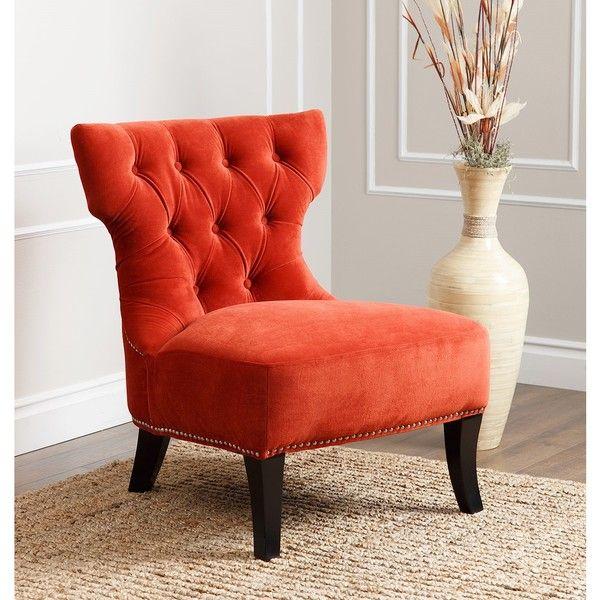 ABBYSON LIVING Sedona Sangria Orange Microsuede Nailhead Chair
