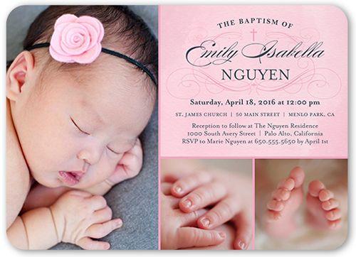 Baptism Invitations Faithful Flourish Girl, Rounded Corners, Pink - invitation for baptism girl