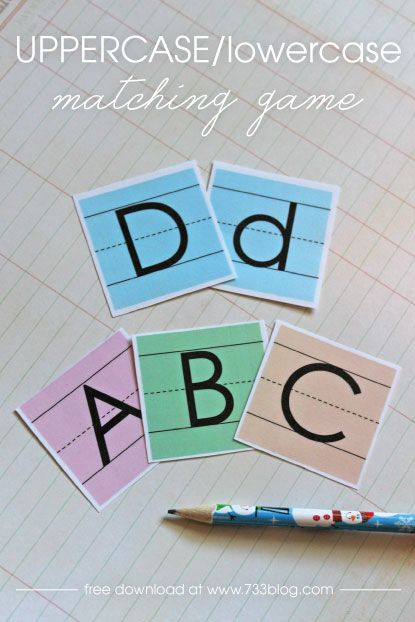 Uppercase/Lowercase Matching Game Free Printable