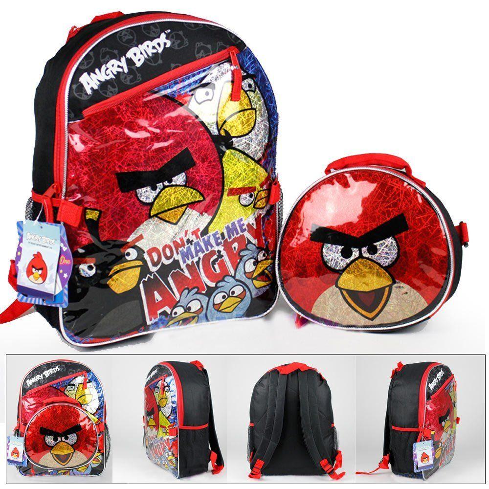 dbf71e287b25 Amazon.com  Rovio Angry Birds Backpack + Lunch Bag Metallic Large 16