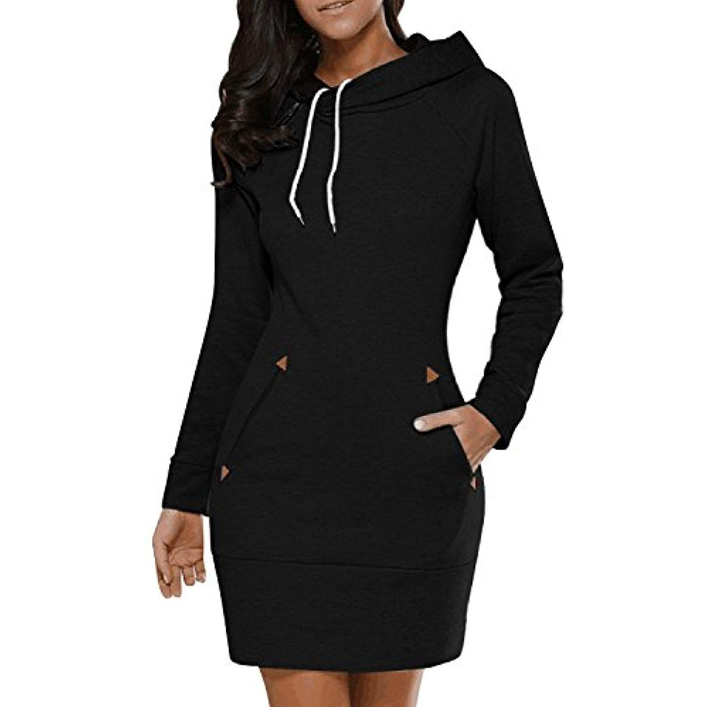 Buibiu Women S Long Sleeve Cotton Slim Fit Midi Hoodie Dress With Pocket S 5xl Learn M Womens Sweatshirt Dress Fit Sweater Dress Long Sleeve Fashion Casual [ 1500 x 1500 Pixel ]