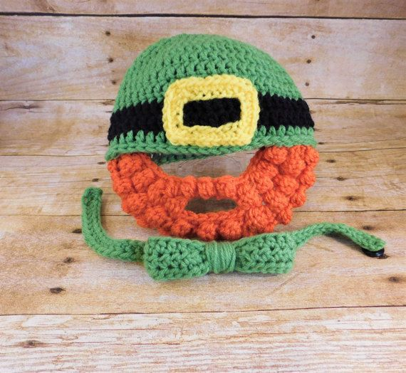 St Patricks Day Hat with Beard - Crochet Leprechaun Hat - Beard Hat - Baby  Beard Hat - March Baby - e701644d5cf