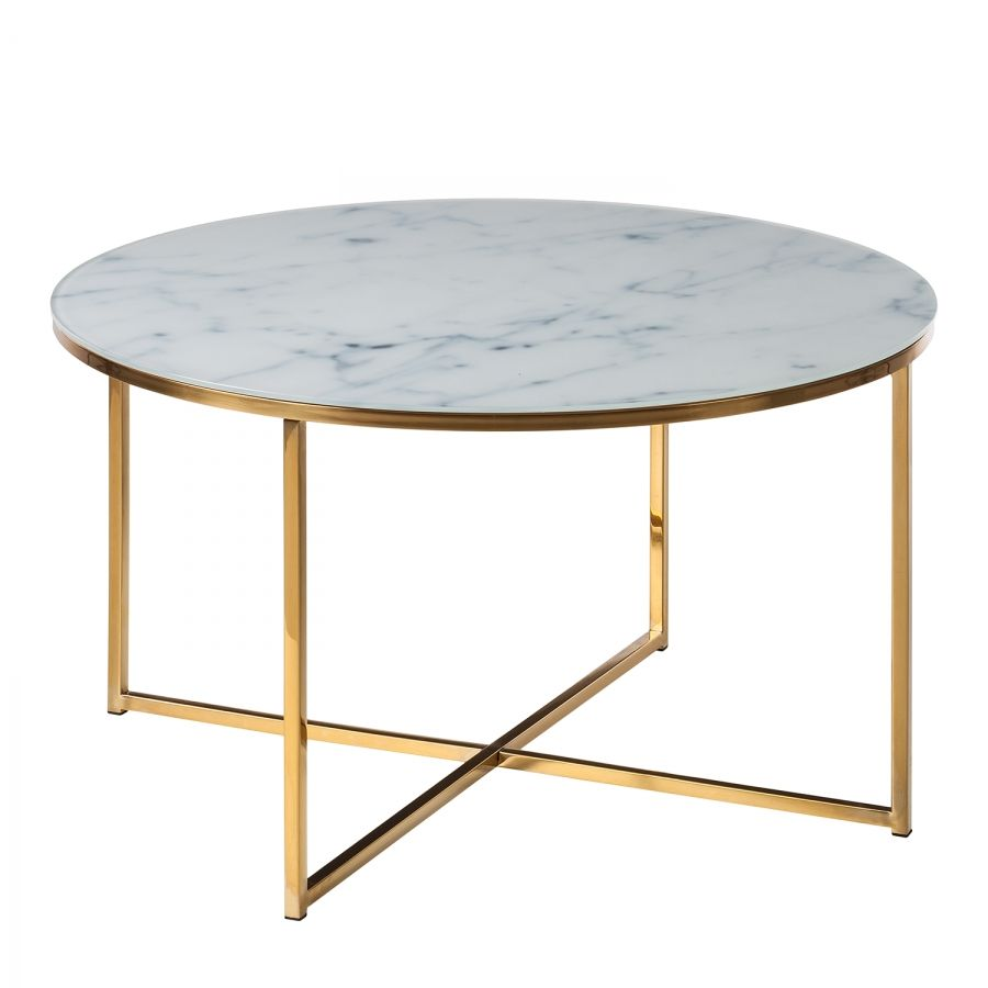 Table Basse Metal Blanc.Table Basse Katori I Verre Metal Blanc Dore In 2019