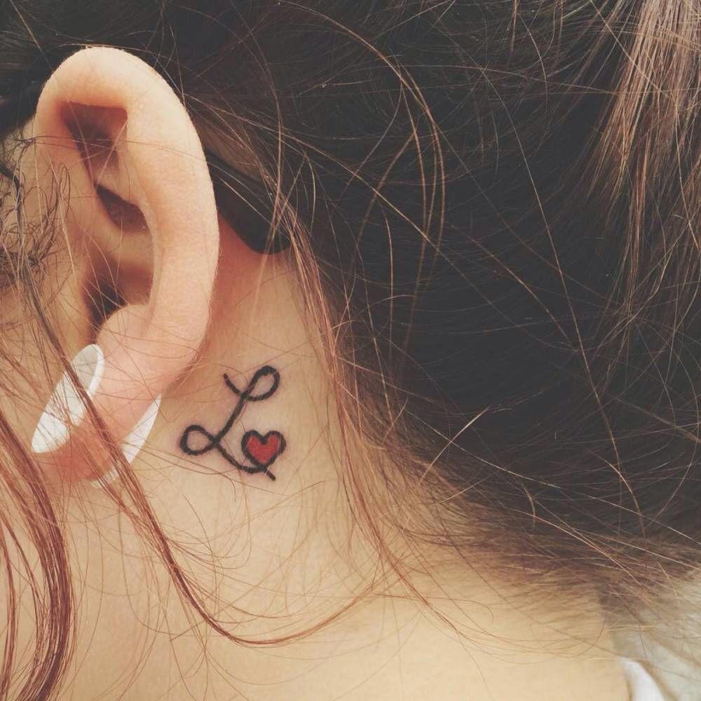Letter L Behind Ear Tattoos Heart Tattoo Designs Finger