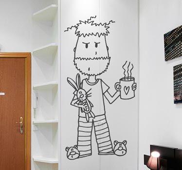 Vinilo Decorativo Hombre En Pijama Ideas Casa Home Ideas
