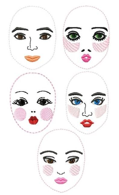Embroidery Doll Face Set