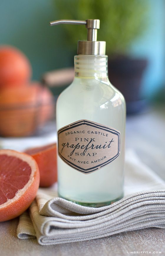 Organic Castile Hand Soap Printable Labels And Grapefruit