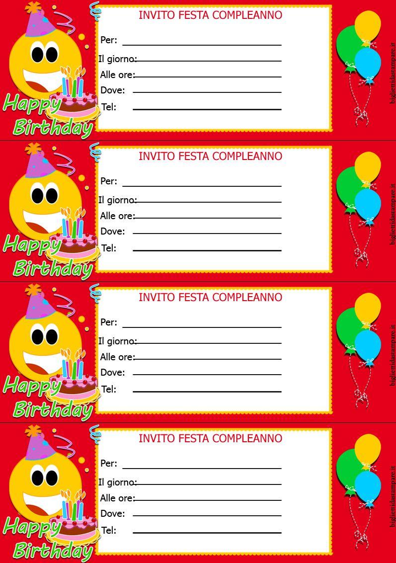 Biglietti Invito Compleanno Bambini Inviti Compleanno Party E