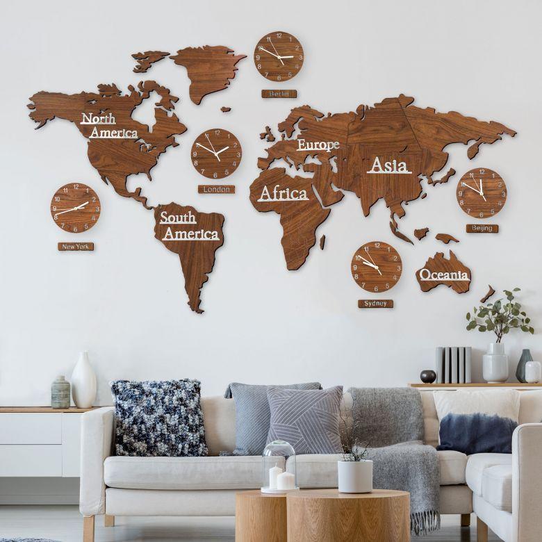 3d Holz Weltkarte Mit Uhren Set Braun Wall Art De Mappamondo