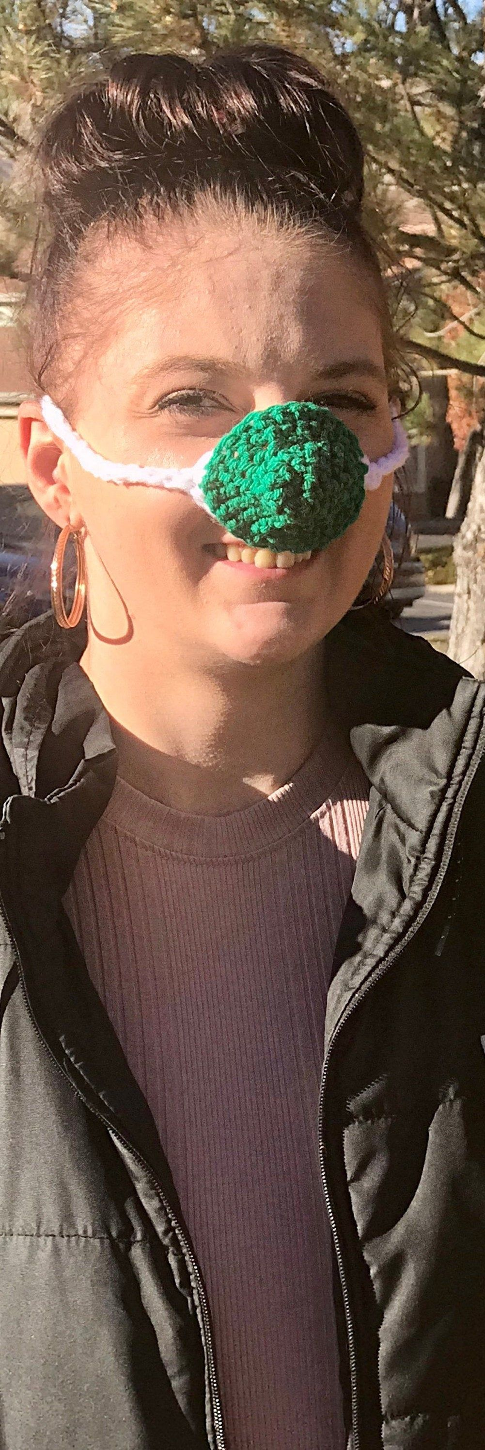 Nose Warmer Green White Adult Teen Adjustable Ties Ready To Ship FREE SHIPPING Crocheted Stocking Stuffer Cold Nose Cover #stockingstuffersforadults