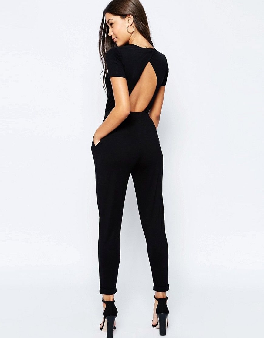 a904486c3fd DESIGN wrap front jersey jumpsuit with short sleeve