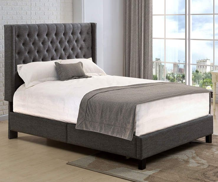 Gray Tweed Winged Upholstered Queen Bed With Button Tufting At Big