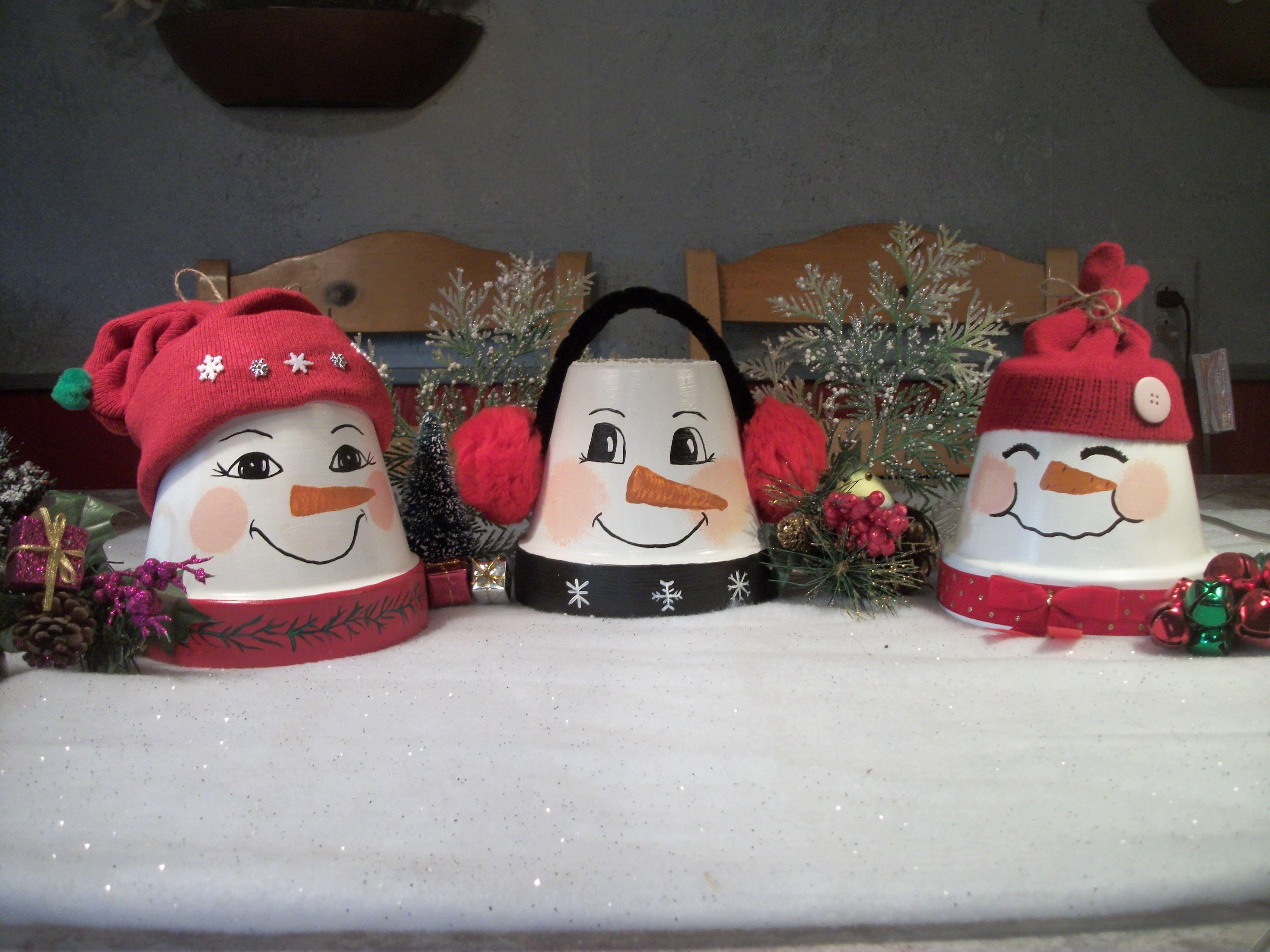 Clay pot snowmen | DIY | Pinterest