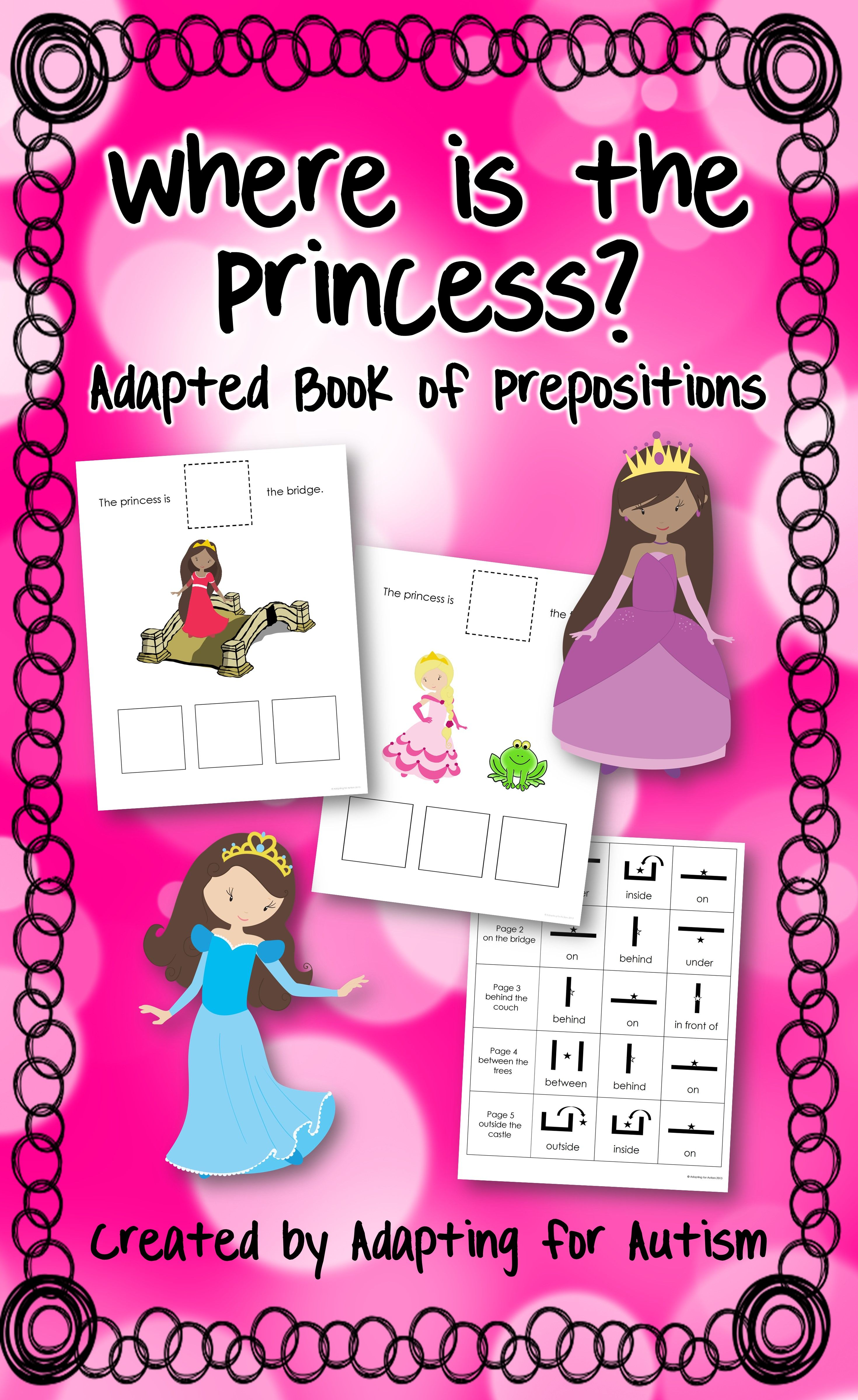Prepositions Adapted Book For Special Education And Autism Princesses
