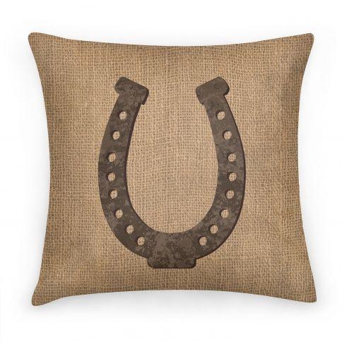 Faux Burlap Horseshoe Throw Pillow Lookhuman Pillows Throw