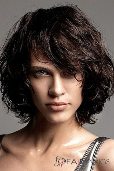 2015 New Black Short Wavy Indian Remy Hair Wigs Black Hair Wigs Thick Hair Styles Curly Hair Styles